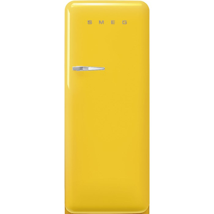 FAB28RYW5 60cm 50s Style Right Hand Hinge Fridge with Icebox Yellow