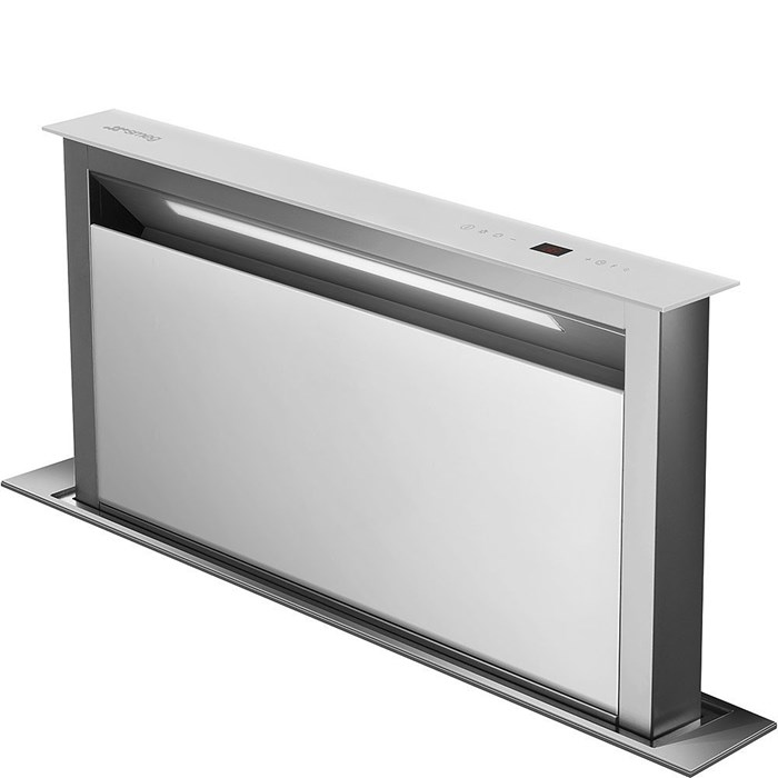 KDD90VXBE 90cm Island Downdraft Hood Stainless Steel and White Glass