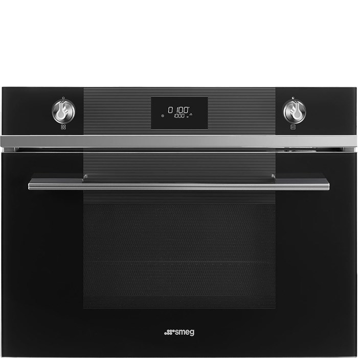 SF4101MCN Compact 45cm Linea Combination Microwave in Black Glass