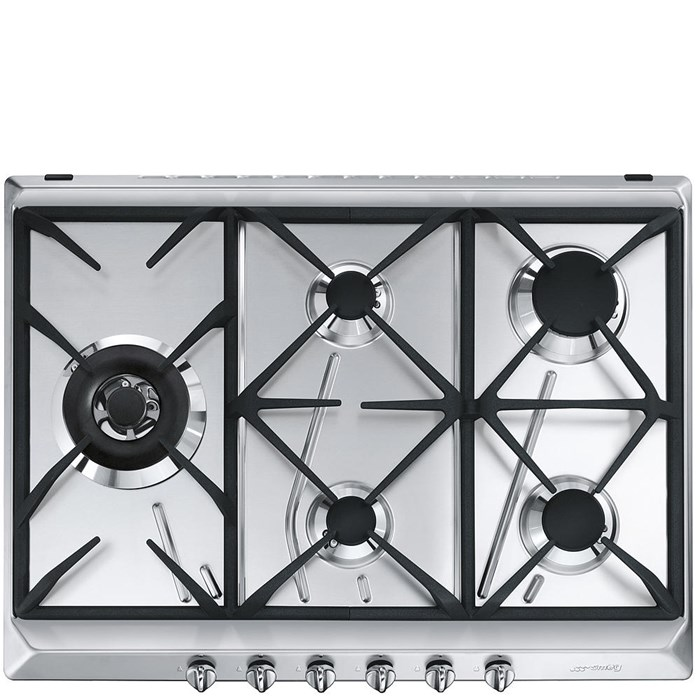 SRV575GH5 70cm Cucina Gas Hob Stainless Steel with Contemporary Controls